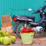 Farbenfrohes Stilleben am Markt von Kep