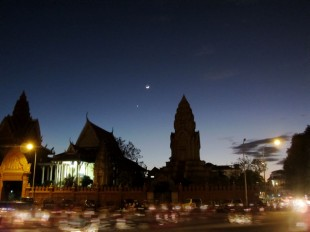 Phnom Penh Riverside at Night