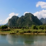 Blick auf die Landschaft um Vang Vieng