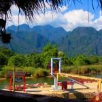 Blick aus einem Restaurant am Fluss v.Vang Vieng